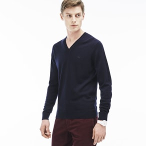 Lacoste Men's V-Neck Wool Jersey Sweater - Navy Blue
