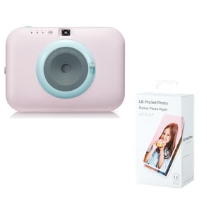 Lg Pocket Photo Pc389p Instant Camera & Photo Paper Bundle - Pink, Pink