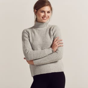 Grey Self Knit Roll Neck Jumper