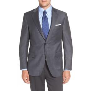 Men's Peter Millar Flynn Classic Fit Check Wool Sport Coat, Size 42 R - Blue
