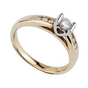 9ct Gold 0.25 Carat Diamond Stone-Set Shoulder Ring