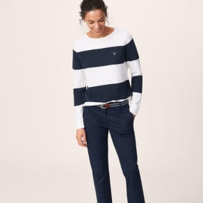 Cotton Pique Block Stripe Jumper - Evening Blue