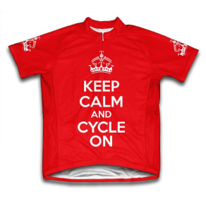 Scudo Keep Calm and Cycle on Microfiber Short-Sleeved Cycling Jersey, Red, L, Size: Large