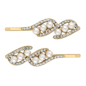The Collection Gold Pearl Twist Hair Slide Set