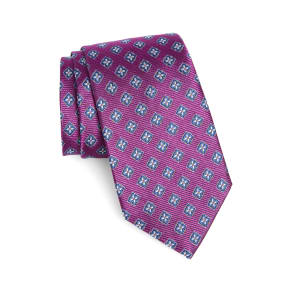 Men's Nordstrom Men's Shop Medallion Silk Tie, Size X-Long - Pink
