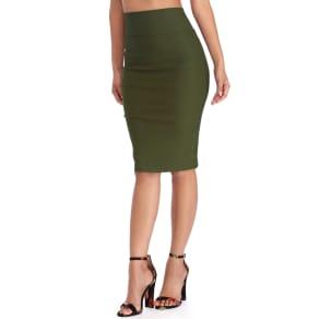 Final Sale- Olive High Waist Pencil Skirt
