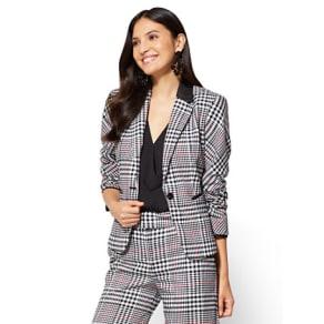 7th Avenue - Jacket - One-Button - Ruffle-Back - Plaid