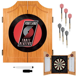 Nba(canonical) Portland Trail Blazers Wood Dart Cabinet Set