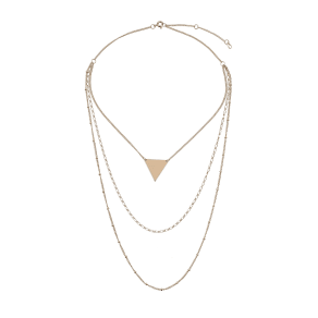 Mikey Mikey London Plain Triangle Pendant Ball Necklace, Gold
