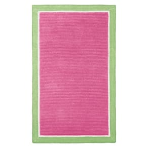 Capel Border Rug, 8x10, Bright Pink/Mint
