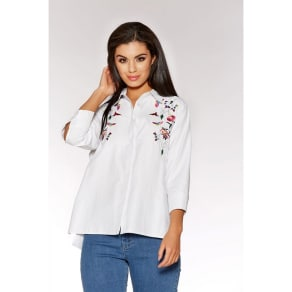 Quiz White Floral Embroidered Shirt