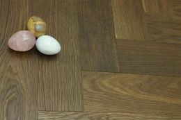 Prime Engineered Flooring Oak Herringbone Dark Smoked Brushed UV Oiled 14/3mm By 97mm By 582mm
