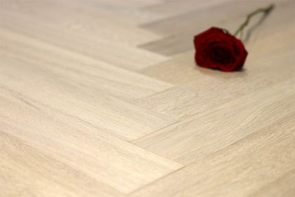 Prime Engineered Flooring Oak Herringbone Milan White Brushed UV Oiled 15/4mm By 90mm By 600mm