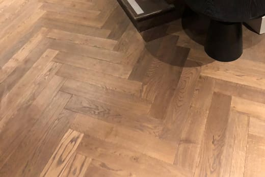 Natural Solid Flooring Oak Herringbone Titanium Smoked Brushed UV Oiled 15mm By 100mm By 600mm