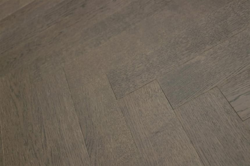 Prime Engineered Flooring Oak Herringbone Black Tea Brushed UV Matt Lacquered 14/3mm By 98mm By 790mm