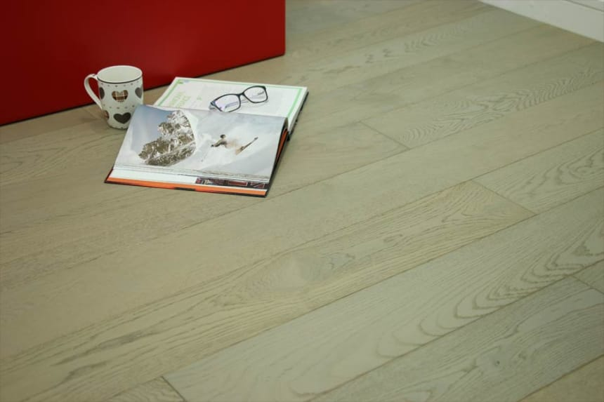 Natural Engineered Flooring Oak UK Grey Brushed UV Oiled 18/4mm By 150mm By 400-1500mm