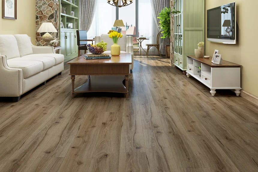 Luxury Click Vinyl Rigid Core Flooring Adobe Sand 5mm By 178mm By 1220mm