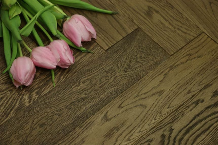 Natural Engineered Flooring Oak Herringbone Smoked Brushed UV Oiled 14/3mm By 90mm By 600mm
