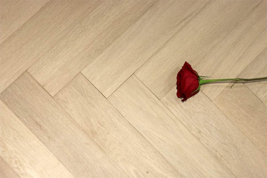 Prime Engineered Flooring Oak Herringbone Sunny White Brushed UV Oiled 14/3mm By 97mm By 582mm