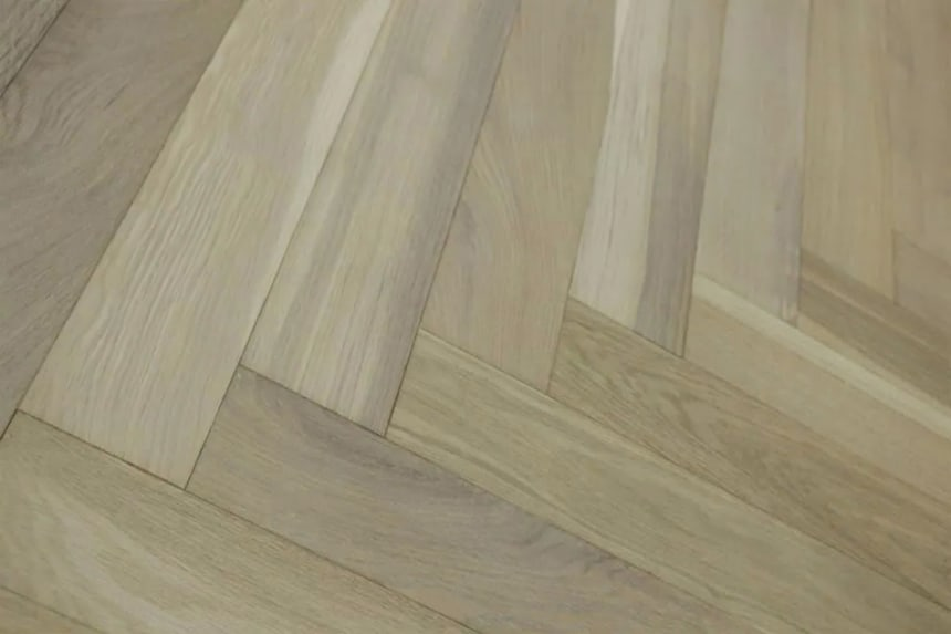 Select Solid Flooring Oak Herringbone Smoked Grey Brushed UV Oiled 18mm By 70mm By 280mm