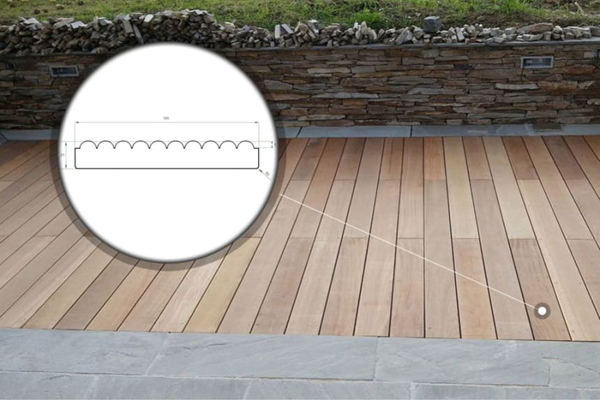 Yellow Balau Reeded Decking Boards 19mm By 90mm By 1800-2400mm