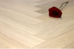 Prime Engineered Flooring Oak Herringbone Milan White Brushed UV Oiled 15/4mm By 90mm By 600mm
