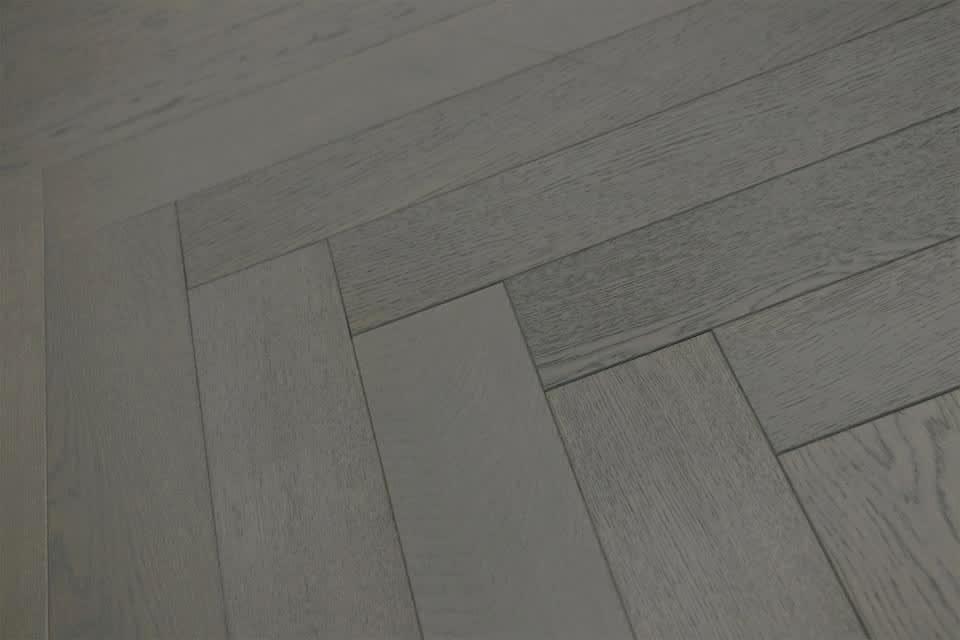 Natural Engineered Flooring Oak Herringbone Slate Grey Brushed Uv