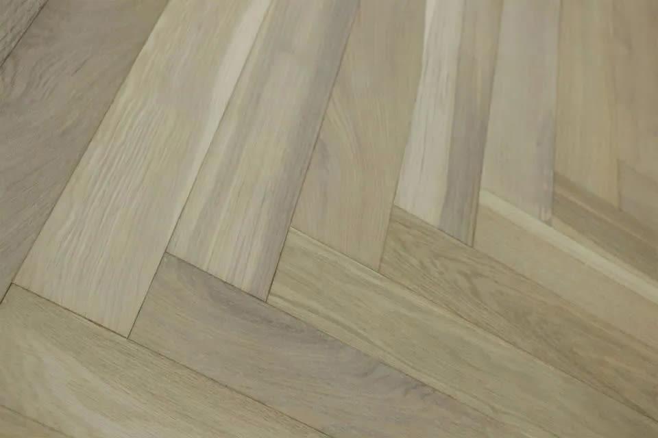 Select Solid Flooring Oak Herringbone Smoked Grey Brushed