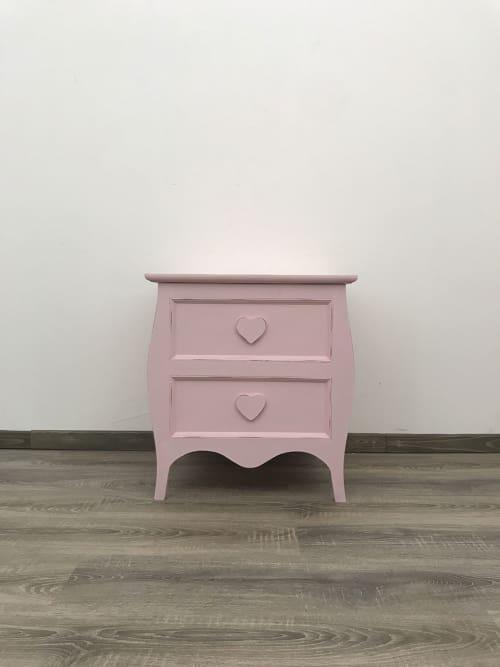 Baule apollo rosa, in stile shabby chic, artigianale