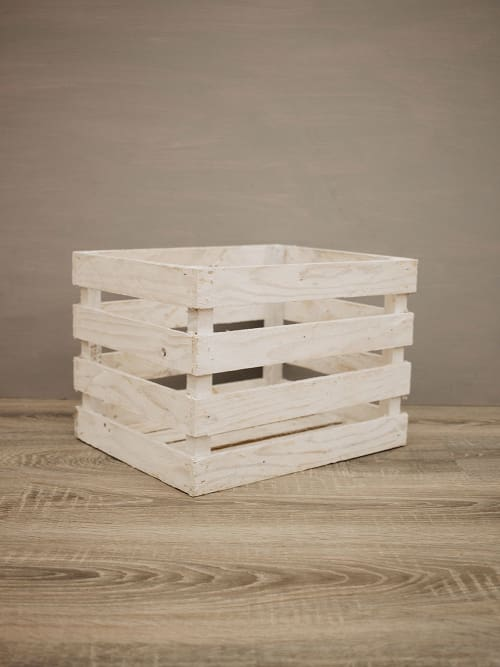 Cassetta di legno artigianale bianca