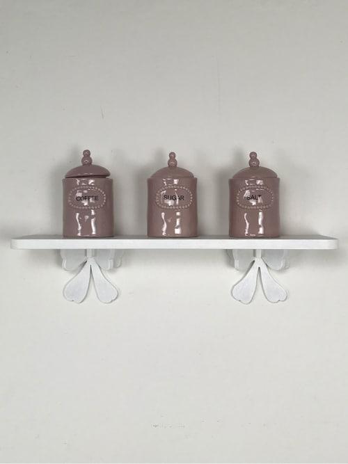 Set da Cucina Shabby Chic - Mensola artigianale da cm.60 e Barattoli del Caffè, Zucchero e Sale