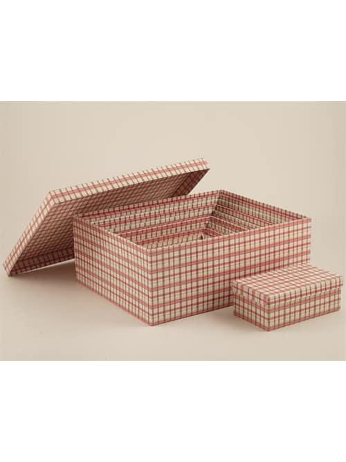 Disraeli scatola in cartone con quadretti rosa e bianchi - Misura 06