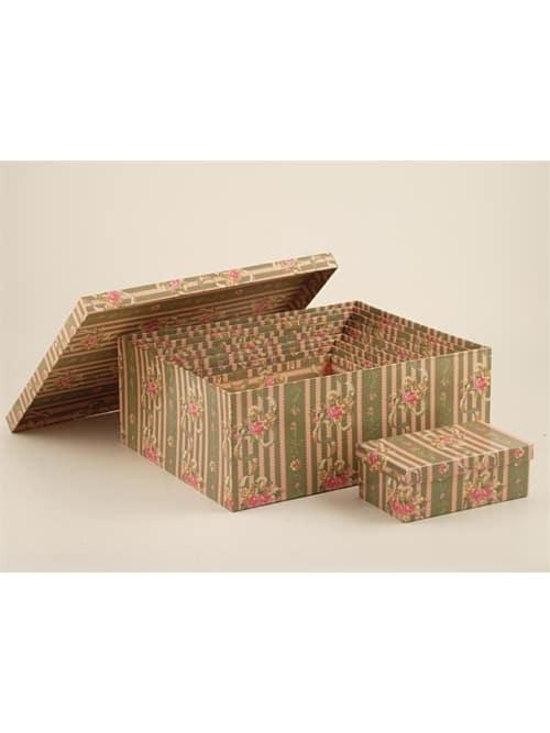 Disraeli scatole in cartone con fantasia a righe e fiori
