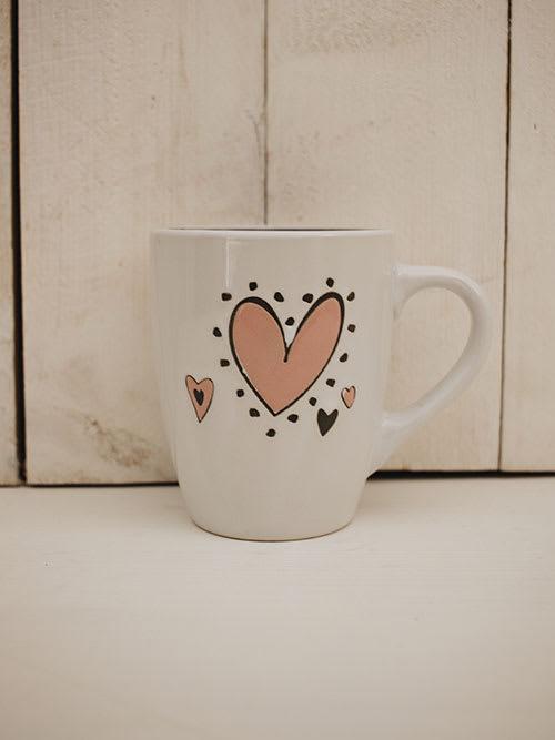 Mug da thè bianco con cuore rosa Cally - Faye