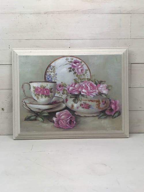 Quadro in legno con tazze e fiori - Disraeli