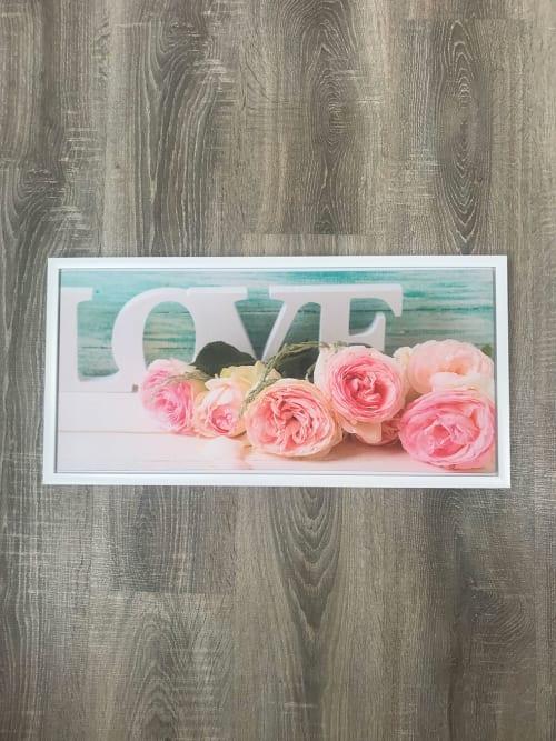 Quadro Shabby rettangolare con scritta Love e con Rose - Ad Trend