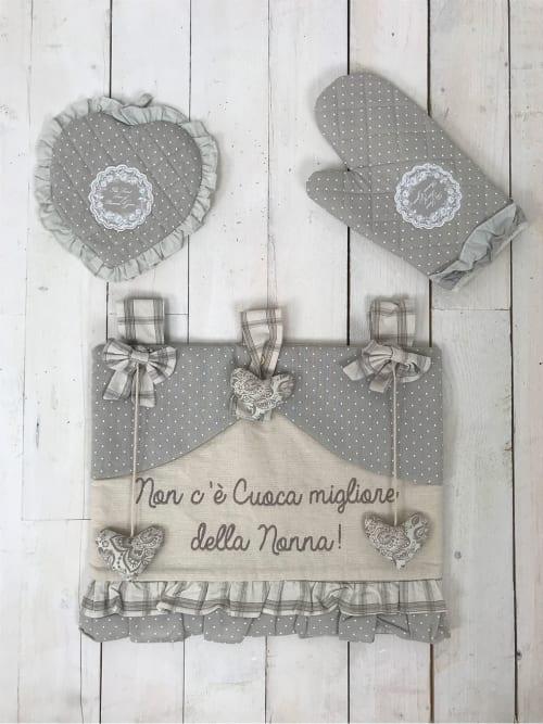 Set da Forno Shabby Chic - Regalo per la nonna composto da Copriforno, guanto e presina