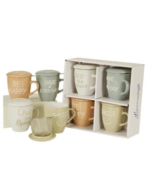 Set 4 mug tisaniere con filtro - Lorenzongift