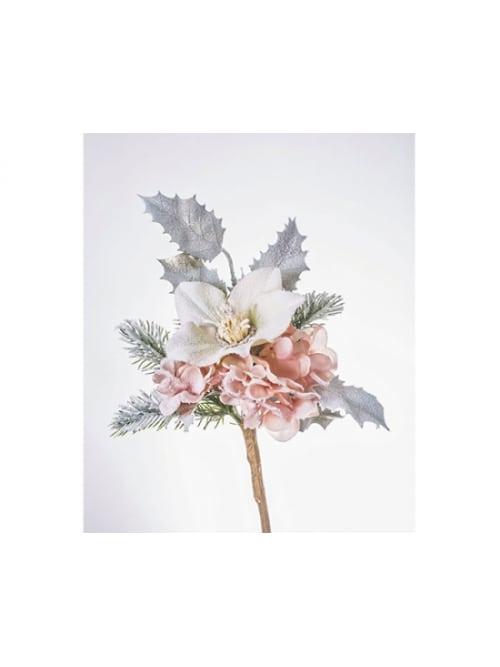 Addobbo natalizio magnolia rosa cipria