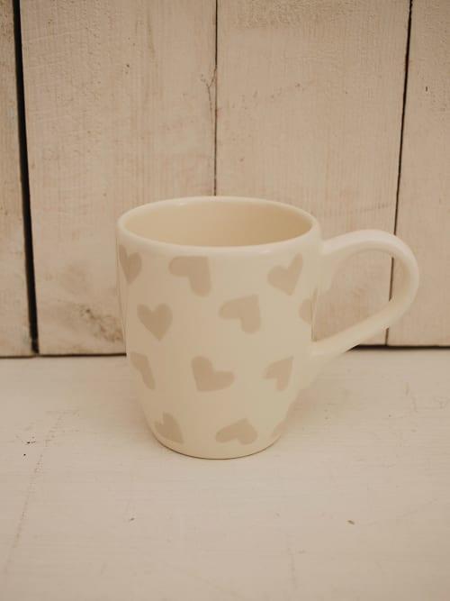 Mug con cuori beige - Angelica Home & Country