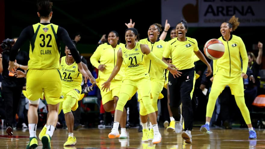 8ee02842924 Members of the Seattle Storm celebrate after defeating the Washington  Mystics 98-82 to win the WNBA Finals. With the 2018 season in the books