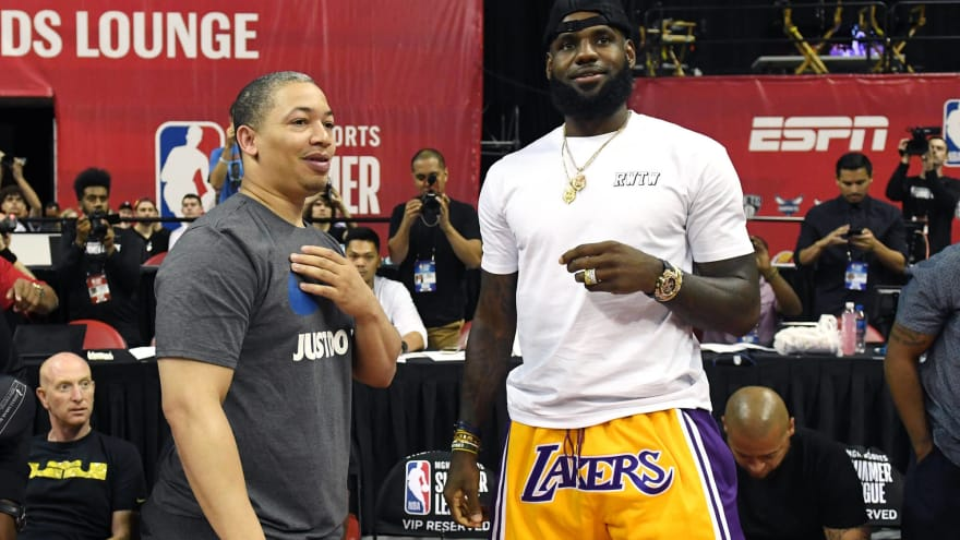 Head coach Tyronn Lue (L) of the Cleveland Cavaliers talks with LeBron  James of the Los Angeles Lakers after a quarterfinal game of the 2018 NBA  Summer ... caddcdbdb