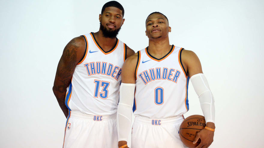 346bc586628 Watch  Russell Westbrook to Lakers fans  Paul George  ain t going ...