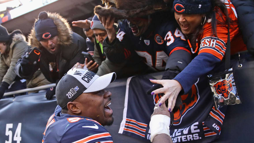 Khalil Mack  52 of the Chicago Bears celebrates with fans after a win  against the Green Bay Packers at Soldier Field on December 16 4be5a9433