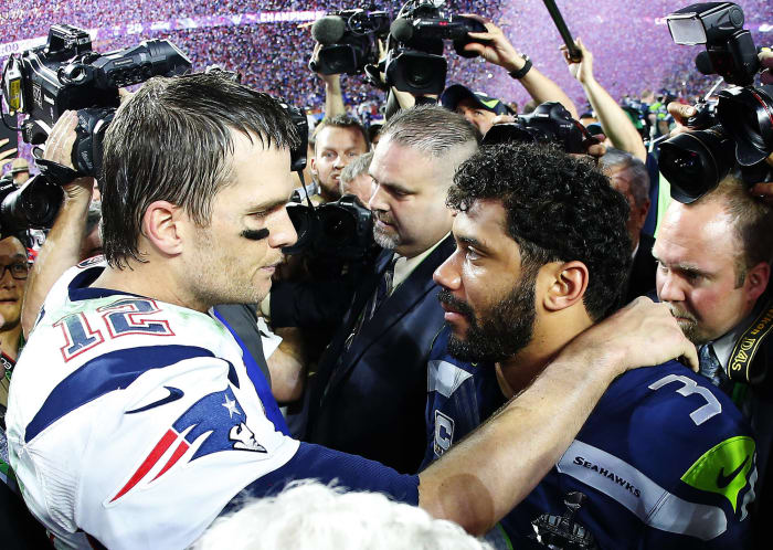 Super Bowl XLIX: Tom Brady, New England Patriots, and Russell Wilson, Seattle Seahawks