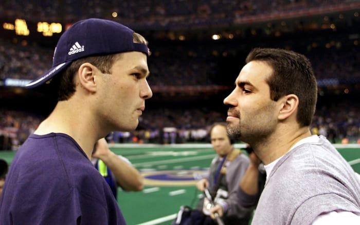 Super Bowl XXXVI: Tom Brady, New England Patriots, and Kurt Warner, St. Louis Rams