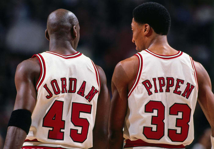 At guard, No. 45, Michael Jordan