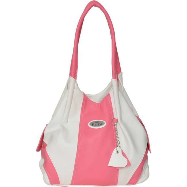 Fashion Shoulder Bag  (white & pink)