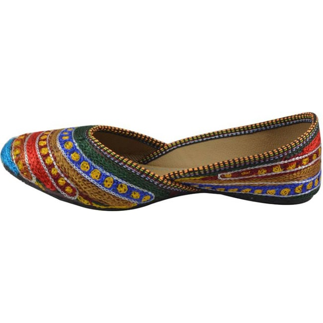 Tamanna dotted handicraft Jutis  (Multicolor)