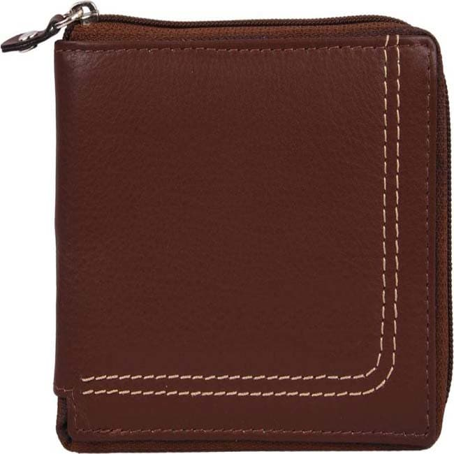 MOBIPHONICS Men Brown Genuine Leather Wallet Mens Purse (6 Card Slots)